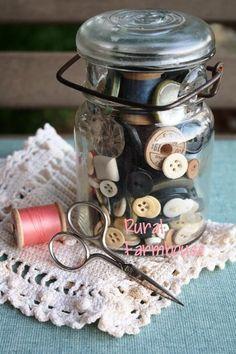 Old Jar of Vintage Sewing Notions