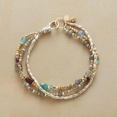 """EASY AS 1-2-3 BRACELET - Three wear-with-anything strands: sterling silver barrel beads; labradorites with 14kt goldfill beads and ring; and a mix including garnet, apatite and citrine. Lobster clasp. Handmade exclusive. 7-1/2""""L."""