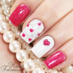 Valentines Day Manicure | See more nail designs at http://www.nailsss.com/acrylic-nails-ideas/2/