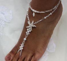 Pies descalzos sandalias boda joyería nupcial por SubtleExpressions