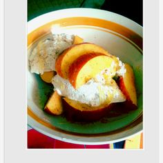 Perfect Summer desert. Peaches and cream..sprinkled with cinnamon and nutmeg.