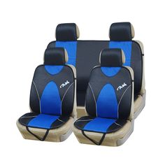 9pcs Black Sports Car Seat Cover Cushions Separate Headrest Covers Wearproof