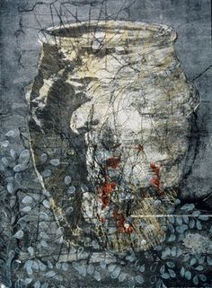 """""""Large Gray Hangari Jar"""" Collagraph print, silkscreen, relief print, collage, and mixed media on paper, 47"""" x 31"""""""