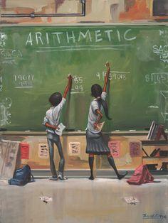 Arithmetic by Frank Morrison --Black Art. Black Love Art, Black Girl Art, My Black Is Beautiful, Black Girls, Caricatures, Frank Morrison Art, Kadir Nelson, African American Artwork, Black Art Pictures