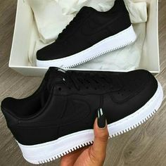 brand new 5cba1 00491 Nike Air Force 1 Trainers in Black and White. The 1982 phenomena that is  the Nike Air Force 1 touches down at Footasylum with the upper looking  resplendent ...