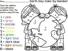 Your students will love practicing addition and subtraction facts with these fun Earth Day theme color by number worksheets! Included are 8 color by number printables; addition & subtraction facts within 10. Black and white and UK/Australian versions are provided. Aligned to Common Core standards. $
