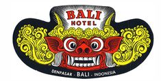 The Bali Hotel luggage label. Featured on the label is the mystical creature Barong,  who for many residents of the island of Bali, Indonesia is the village guardian.