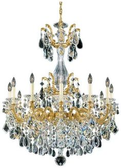 Schonbek La Scala Chandelier in Heirloom Gold With Clear Heritage Crystal Chandelier Lighting, Chandeliers, Schonbek Chandelier, Interior Lighting, Clock, Ceiling Lights, Interiors, Sweater, Crystals