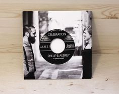 Music Lovers Vinyl Record Wedding Invitation by yesdearstudio