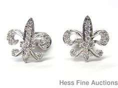 Genuine Diamond 14k White Gold Fleur De Lis Cufflinks for Man or Woman #Unbranded