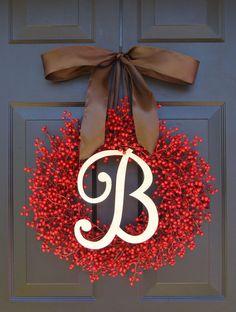 Berry Wreath Etsy Fall Wreath Monogram Wreath by ElegantWreath