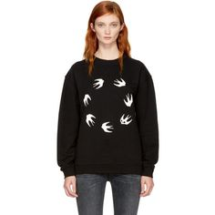 McQ Alexander McQueen Black Circle Swallows Sweatshirt (765 SAR) ❤ liked on Polyvore featuring tops, hoodies, sweatshirts, black, graphic sweatshirt, french terry tops, long sleeve sweatshirts, graphic print top and graphic tops