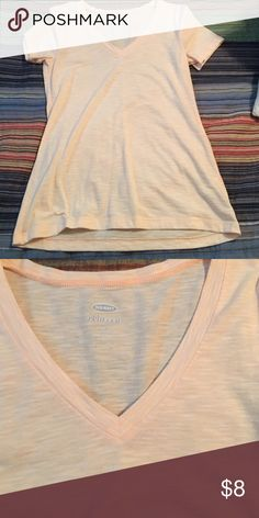 Old Navy V neck Tshirt Orange and white striped tshirt. Very comfy and cute. No rips stains or tears. Comes from smoke free home. Old Navy Tops Tees - Short Sleeve
