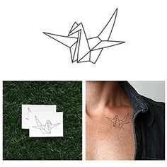 Tattify Origami Crane Temporary Tattoo - Wishful Thinking (Set of 2) - Other Styles Available and Fashionable Temporary Tattoos - Tattoos are long lasting and Waterproof ** Click image for more details. (This is an affiliate link and I receive a commission for the sales) #TemporaryTattoos