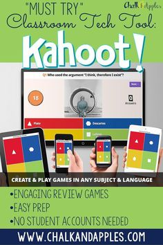 Must Try Classroom Tech: Kahoot makes learning fun with engaging review games in a trivia-style atmosphere! A student favorite! | http://www.chalkandapples.com