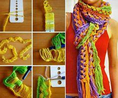 DIY Hook Knit Scarf--> http://wonderfuldiy.com/wonderful-diy-hook-knit-scarf/ #diy #knitscarf