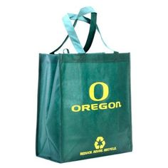 """Oregon Ducks Green Reusable Tote Bag by Football Fanatics. $1.99. Oregon Ducks Green Reusable Tote BagReusable bagApproximately 6"""" W x 13"""" L x 14.5"""" HOfficially licensed collegiate productImported100% Non-woven polypropylene fabricLocker loopTwo carry handlesScreen print graphicsReusable bagScreen print graphicsTwo carry handlesLocker loopApproximately 6"""" W x 13"""" L x 14.5"""" HImported100% Non-woven polypropylene fabricOfficially licensed collegiate product"""