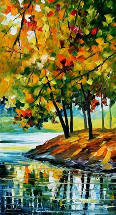 "LATE FALL — PALETTE KNIFE Oil Painting On Canvas By Leonid Afremov - Size 36""X20"""