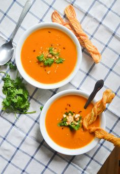 Creamy Coconut Carrot Soup. A recipe for carrot soup made with coconut milk and red curry paste.