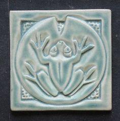 "Green Matte Frog on Lily Pad 2"" Tile, Handmade, Arts and Crafts Mission Style, backslpash, kitchen, bathroom, display"