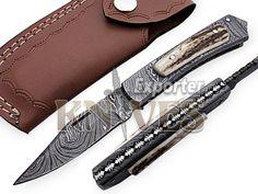 Knives Exporter Custom Made Damascus Steel Folding Knife, Stag Horn Handle F52 #KnivesExporter