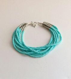 Turquoise bracelet, aqua bracelets, beaded bracelet, blue bracelets, glass seed bead bracelet, silver bracelet, minimalist