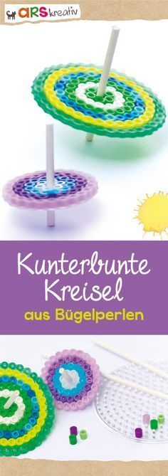 Bunte Bügelperlen-Kreisel ganz einfach zum Selbermachen - Cuaderno de tareas, dibujos a lápiz Bead Crafts, Diy And Crafts, Crafts For Kids, Arts And Crafts, Fuse Beads, Perler Beads, Maila, Iron Beads, Spinning Top