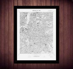1967 Brooklyn City Map Vintage 18x24 Black Print Poster