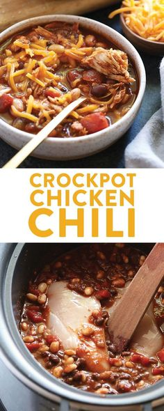 Crockpot Chicken Chili Gluten Free - As One Of My Favorite Fall And Winter Healthy Slow Cooker Recipes, Our Crockpot Chicken Chili Is So Easy To Put Together. In addition, This Easy Chicken Chili Is Packed With Protein, Fiber, And So Much Good Flavor . Healthy Crockpot Recipes, Slow Cooker Recipes, Protein Recipes, Cooking Recipes, Cooking Chili, Healthy Protein, Cooking Fish, Cooking Steak, Cooking Salmon