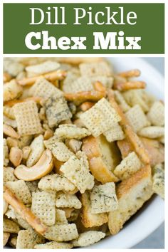 Dill Pickle Chex Mix - my alltime favorite Chex Mix! Chex cereal, bagel chips, pretzel sticks, and cashews coated in a buttery dill pickle and ranch seasoning and baked until crispy and delicious. Yummy Appetizers, Yummy Snacks, Appetizer Recipes, Yummy Food, Delicious Recipes, Snack Mix Recipes, Chex Mix Recipes, Snack Mixes, Chex Mix Ranch Recipe