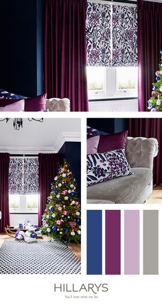 Choosing deep colours for your interiors will help to give your home a dramatic feel this Christmas! Check out our stunning grey, blue and purple colour palette which creates a truly modern feel. Get the look in your own home by browsing the Hillarys collection!