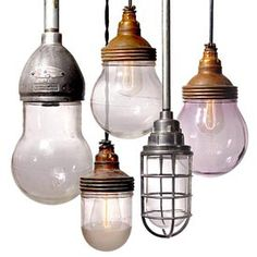 Antique Explosion-proof pendant lights. (!!) Useful for those days your science experiments get away on you?