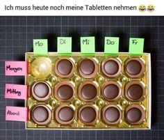 Ich muss heute noch meine Tabletten nehmen ;) Urheber unbekannt #tabletten #toffifee #schoko #schokolade #lachen #gutelaune #montagmorgen #chocolate #montag #dienstag #mittwoch #donnerstag #freitag #woche