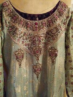 SuperSummer's Distractions: Farah Talib Aziz - My Review Pakistani Fancy Dresses, Beautiful Pakistani Dresses, Pakistani Wedding Outfits, Pakistani Dress Design, Kurti Embroidery Design, Hand Work Embroidery, Embroidery On Clothes, Zardozi Embroidery, Beaded Embroidery