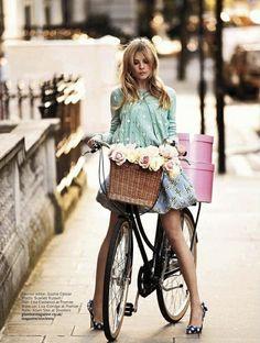 Glamour UK February 2012  Photographer: David Oldham #ride #bike #style