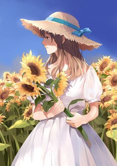 ✮ ANIME ART ✮ summer time. . .dress. . .sun hat. . .ribbon. . .sunflowers. . .garden. . .peaceful. . .nature. . .cute. . .kawaii