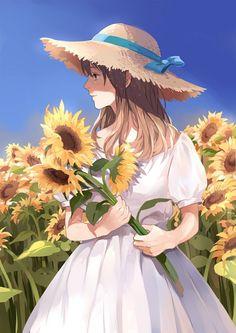 ✮ ANIME ART ✮ summer time. . .dress. . .sun hat. . .ribbon. . .sunflowers. . .garden. . .peaceful. . .nature. . .cute. . .kawaii