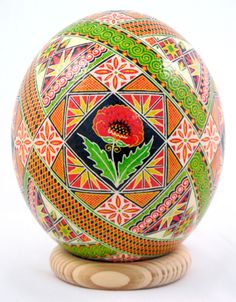 pysanka with a peony flower in the center...peony are sacred flowers to Slavs