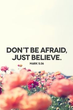 Dont be afraid, just BELIEVE!