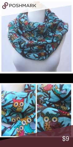 """New Owl Infinity Scarf New owl Print infinity scarf. Length: 35"""" Width: 20"""" Semi sheer, light weight, 100% Vicose Accessories Scarves & Wraps"""