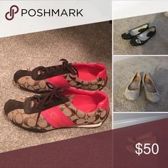 Shoes Coach shoes- like new Black Flats-gently worn Pink Flats-gently worn Light pink wedges-like new Coach Shoes Wedges