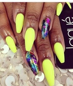 Matte neon yellow and multi color foil affect amazing!,!