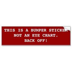 Not An Eye Chart:  Bumper Sticker