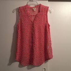 Printed blouse From target. Peach color, print appears to be birds and some abstract feathers. True to size, roomy, button down, v neck, semi sheer. Mossimo Supply Co Tops Blouses