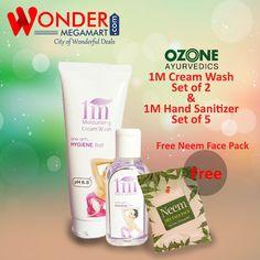 Ozone 1M Cream Wash Set of 2 & 1 M Hand Sanitizer set of 5 Free Neem Face…