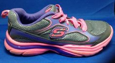 Sketchers Sneakers 13 Girls Leather Sparkle Glitter Charcoal Purple Pink