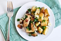 Roasted Potatoes with Gorgonzola, Cilantro and Other Stuff (recipe calls for bacon but you can just skip that ingredient)