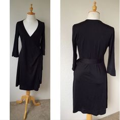 """Diane Von Furstanburg silk wrap dress maternity In excellent condition women's Diane Von Furstenberg Maternity Wrap Dress in size Medium color is black. Fabric is 100% Silk Classic wrap dress is gently shaped with 3/4 lenght sleeves Measurements are taken laid flat  Armpit to armpit across 18"""" in the back Lenght from neckline to hem 39""""  Comes from smoke and pet free home Diane von Furstenberg Dresses"""