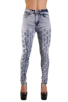 Exocet Bullethole Light Acid High Waisted Jeans in Junior 3 -- Continue to the product at the image link.(This is an Amazon affiliate link and I receive a commission for the sales)