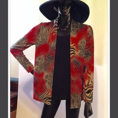 Beautiful shirt and blk tank attached Golds reds blk tan swirls. Beautiful shirt and very comfortable! Tops Blouses